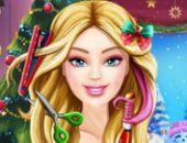 Grande Barbie préparation de Noël coupe de cheveux