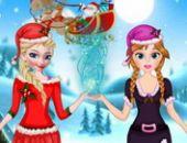 Elsa Et Anna Aider Santa Jeu